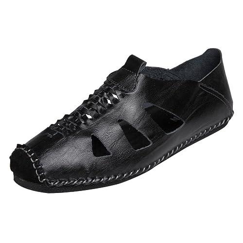 LINNUO Mocasines Hombre Sandalias Deportivas Zapatos de Verano Senderismo Planos Sneaker Slippers Transpirable (Negro,