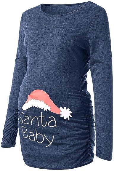 Ropa De Maternidad Para Mujeres Camisa De Enfermería Camisa Vintage Navideña De Enfermería Con Cuello Redondo Camisas De Enfermería Camisa De Maternidad Ropa De Maternidad Con Estampado De Navidad Azu: Amazon.es: Ropa