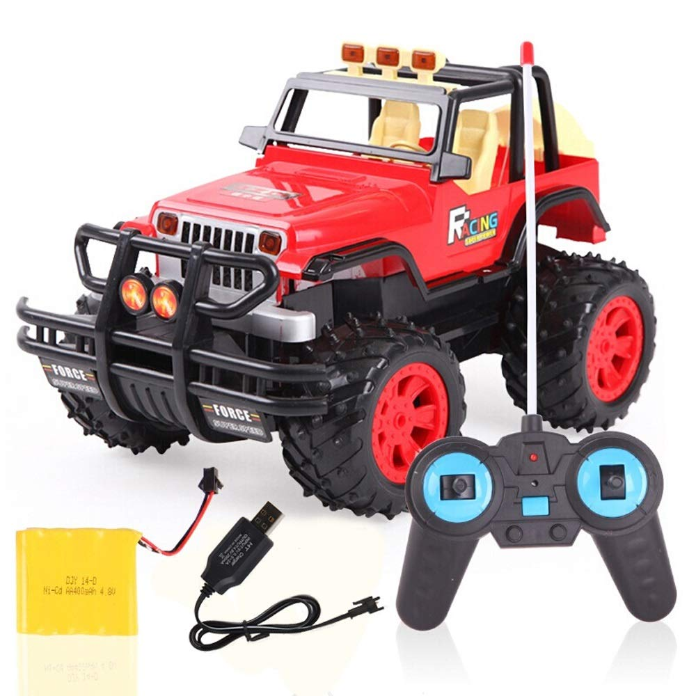 PETRLOY Off Road Toy Red color RC Cars Rock Off-Road Vehicle 2.4Ghz 4WD High Speed Racing Remote Radio Control Car Electric 1 14 Crawler with Lights Monster Truck Infrared Control Crawlers