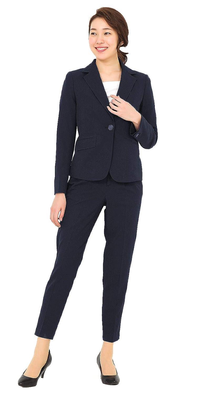 パンツスーツ ウエストゴム レディース 洗える テーパードパンツ ストレッチ 2点セット AddRouge スーツ (アッドルージュ) 【j5012】