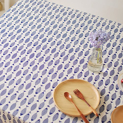 Fish Tablecloth - Aothpher 54x78 inches Natural Fish Pattern Table Cover Cotton Fabric Blue Tablecloth for Rectangle Table