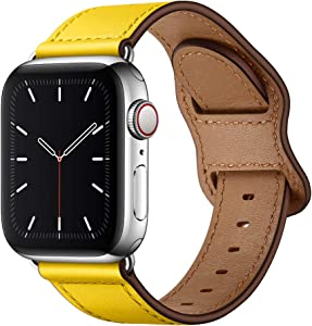 KYISGOS Compatible with iWatch Band 44mm 42mm 40mm 38mm, Genuine Leather Replacement Band Strap Compatible with Apple Watch SE Series 6 5 4 3 2 1 (Lemon Yellow/Silver, 44mm/42mm)