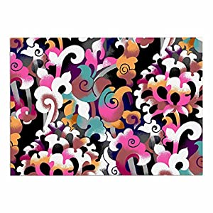 "KESS InHouse Victoria Krupp ""Fantasy Flowers"" Pink Abstract Dog Place Mat, 24"" x 15"" cheap"