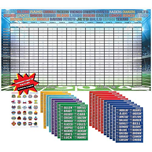 2019 Fantasy Football Draft Kit Complete | Jumbo Color Draft Board 66