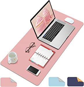 """Multifunctional Office Desk Pad, Waterproof Desk Blotter Protector Cover PVC Leather Dual-Sided Desk Writing Mat Extended Mouse Pad for Office/Home Pink&Silver 23.6""""x13.7"""""""