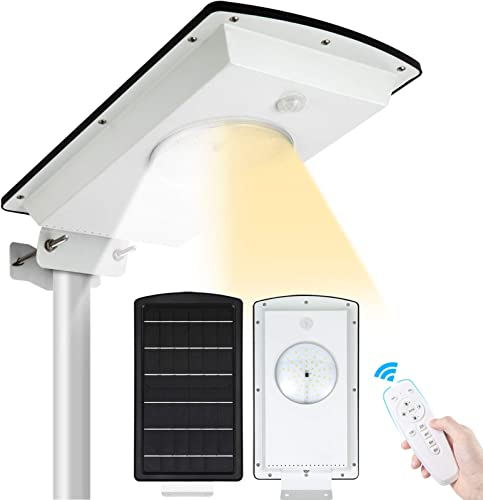 Solar Street Lights Outdoor SunBonar Waterproof IP65 Dusk to Dawn Solar Street Light with Remote Control Motion Sensor, Integrated Cool White Warm White Security Lights for Garden Court Driveway