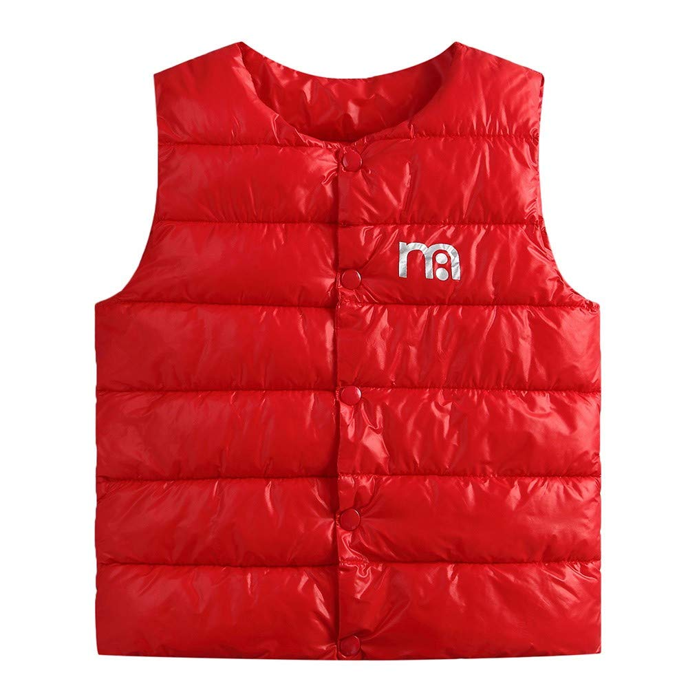 Dinlong Toddler Kids Clothes Sleeveless Solid Letter Jacket Vest Waistcoat Tops Din_95