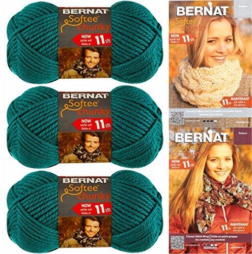Bernat Softee Chunky Yarn Bundle Super Bulky #6, 3 Skeins Emerald 28200