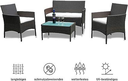 Amazon De Wolketon Gartenmobel Set Poly Rattan Balkonmobel Sitzgruppe Schwarz Langlebig Lounge Set Mit 2 Er Sofa Singlestuhle Tisch Und Sitzkissen