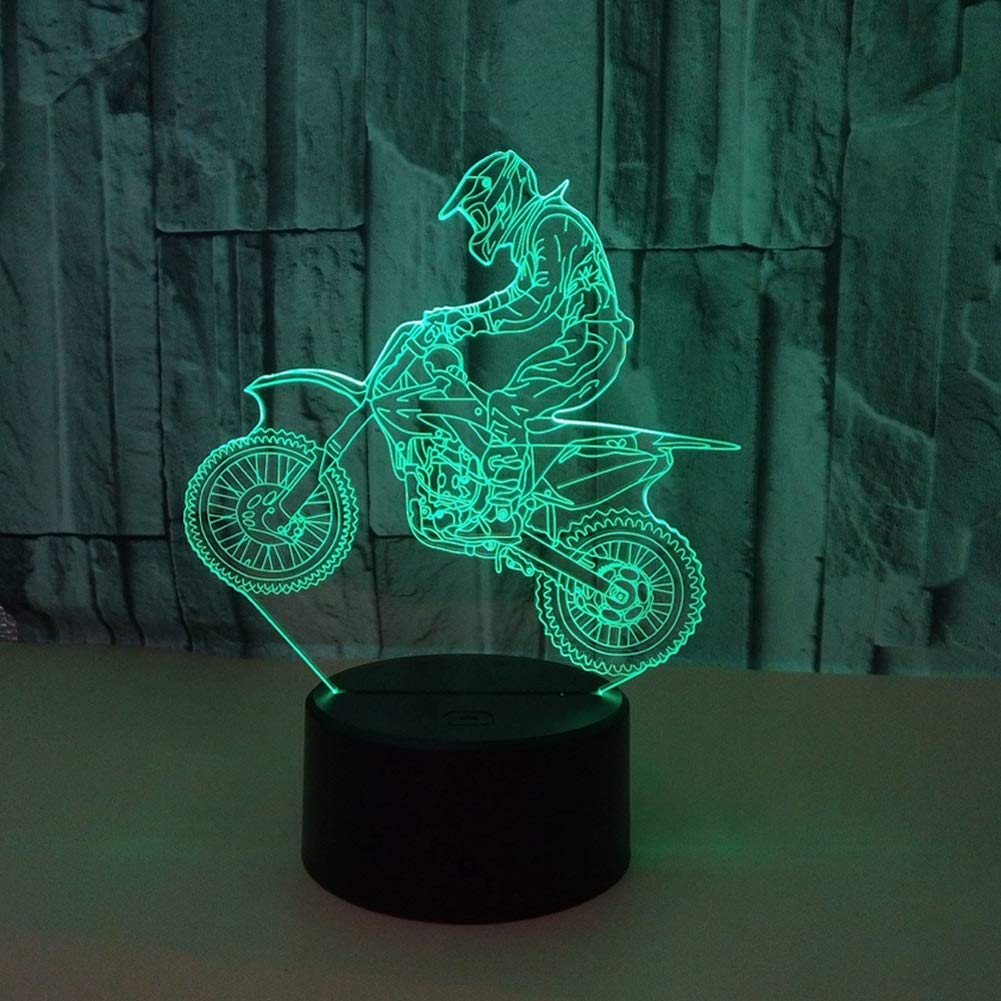 GYYlucky New Motorcycle 3D Light Colorful Visual Stereo Light LED Gradient Touch Remote Control Visual Light 3D Table Lamp (Color : B)