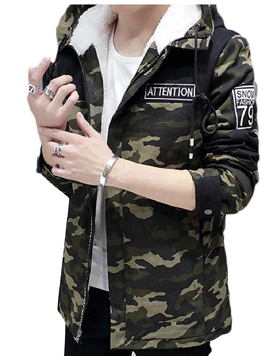 FLCH+YIGE Mens Casual Thick Padded Long Hooded Fleeced Camo Trench Coat Jacket