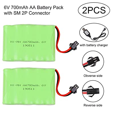 Crazepony-UK 2PCS Battery 6V 700mAh Ni-Mh Bateria SM 2P Plug Connector with USB Charging Cable for Remote Control RC Cars Vehicles: Electrónica