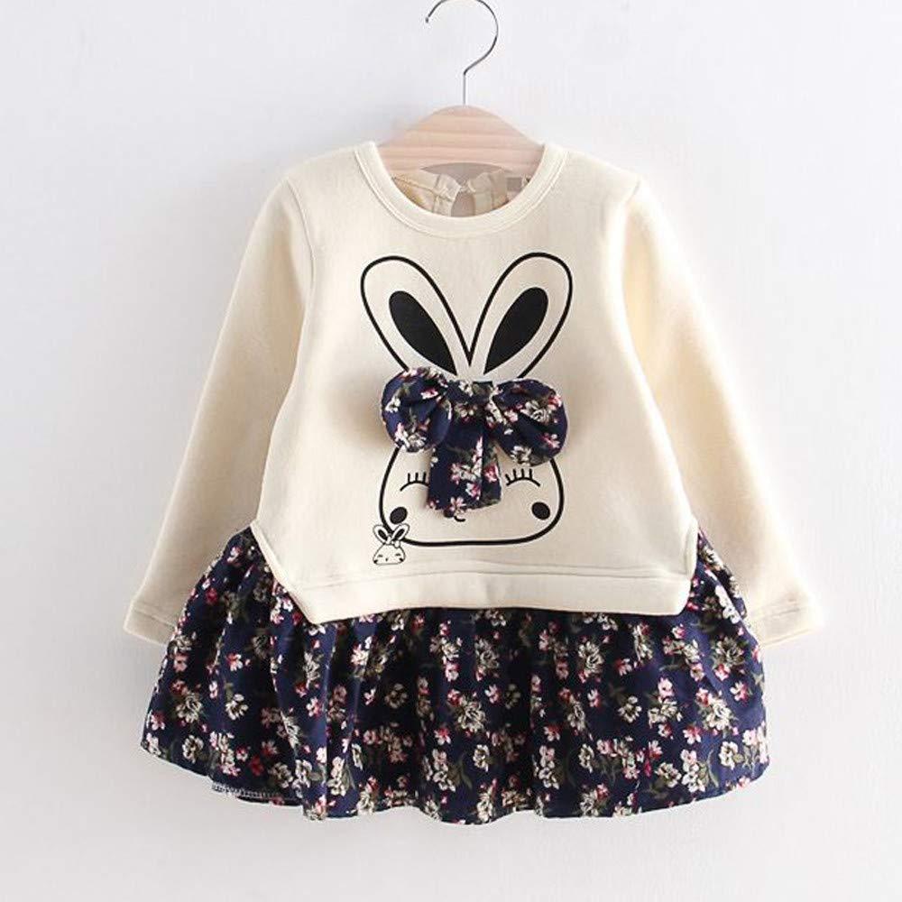 7626dfc5849b Amazon.com: Iuhan Baby Shirt Dress for 1-6Years Girls - Toddler Kids Baby  Girl Cartoon Rabbit Bunny Floral Princess Party Dress Clothes (5-6 Years,  ...