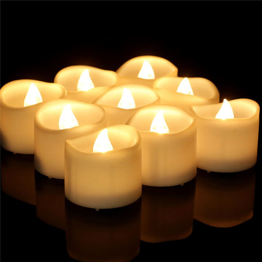 200 Hours Led Mini Tea Light with Timer (6 Hrs On 18 Hrs Off) Flameless Warm White Flickering Fake Votive Candle Wavy Open Rustic Long Lasting Electric Timed Tealights Party Home Wedding Decor 96 PCS by Beauty Collector (Image #5)