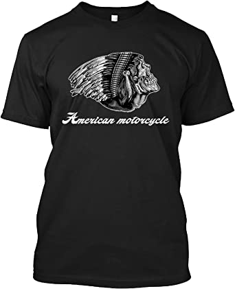 American Motorcycle Skull Native Indian Eagle Chief Vintage T-Shirt for Men Women