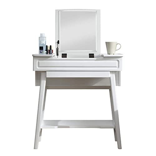 Vlush Vanity Makeup Table with Flip Top Mirror Solid Rubber Wood Dressing Table Writing Desk, 6 Organizers Makeup Accessories 1 Drawer, White