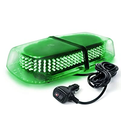 Xprite 240 LED Green Roof Top LED Emergency Strobe Lights Mini Bar for Cars Trucks Snow Plow Vehicles Warning Caution Lights w/Magnetic Base: Automotive
