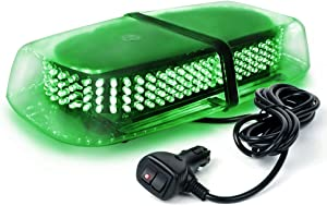 Xprite 240 LED Green Roof Top LED Emergency Strobe Lights Mini Bar for Cars Trucks Snow Plow Vehicles Warning Caution Lights w/Magnetic Base