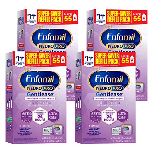 Enfamil NeuroPro Gentlease Baby Formula Gentle Milk Powder Refill 30.4 Oz, MFGM, Omega 3 DHA, Probiotics, Iron & Immune Support, Pack of 4 (Package May Vary)