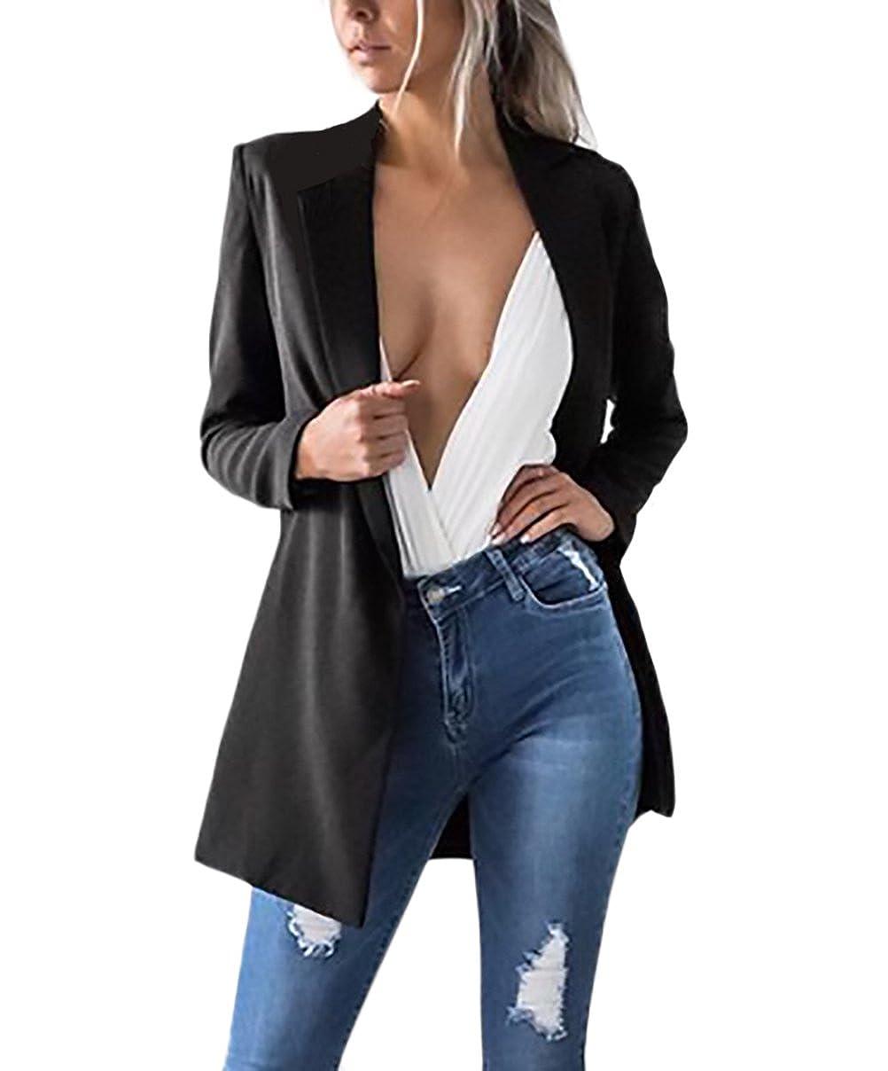 Blazer Donna Cardigan Elegante Invernale Autunno Tailleur Aperta Blazers Giacche Elegante Manica Lunga Classico Ufficio Business Giubbotto Lungo Sciolto Moda Puro Colore Giubbino Lannister Fashion