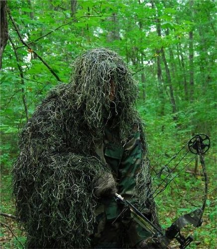 GhillieSuits Synthetic Ultra-Light Ghillie Bow Hunting Jacket Left Hand Woodland - Ultralight Jacket Ghillie