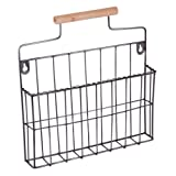 Black Wall Mounted Magazine Letter Wall Store Holder - unusual magazine rack with industrial style frame and handle - perfect for study, mancave, hallway for mail or ideal kitchen towel holder - unusual housewarming gift - H32 x W32 x D5cm