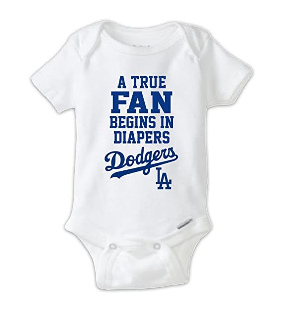 Amazon Com A True Fan Begins In Diapers Baby Bodysuit La Dodgers