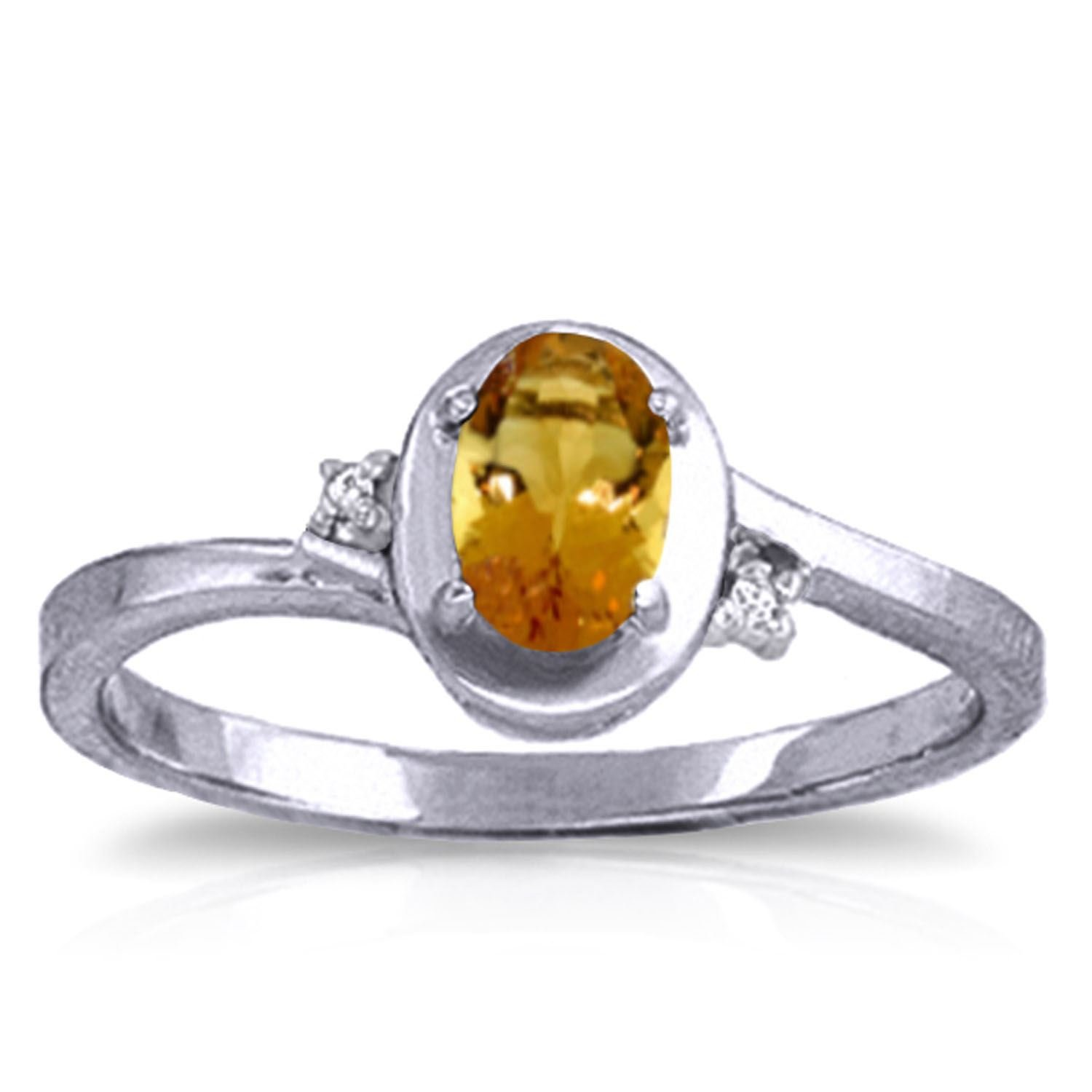 ALARRI 0.51 Carat 14K Solid White Gold Love Goes On Citrine Diamond Ring With Ring Size 10.5
