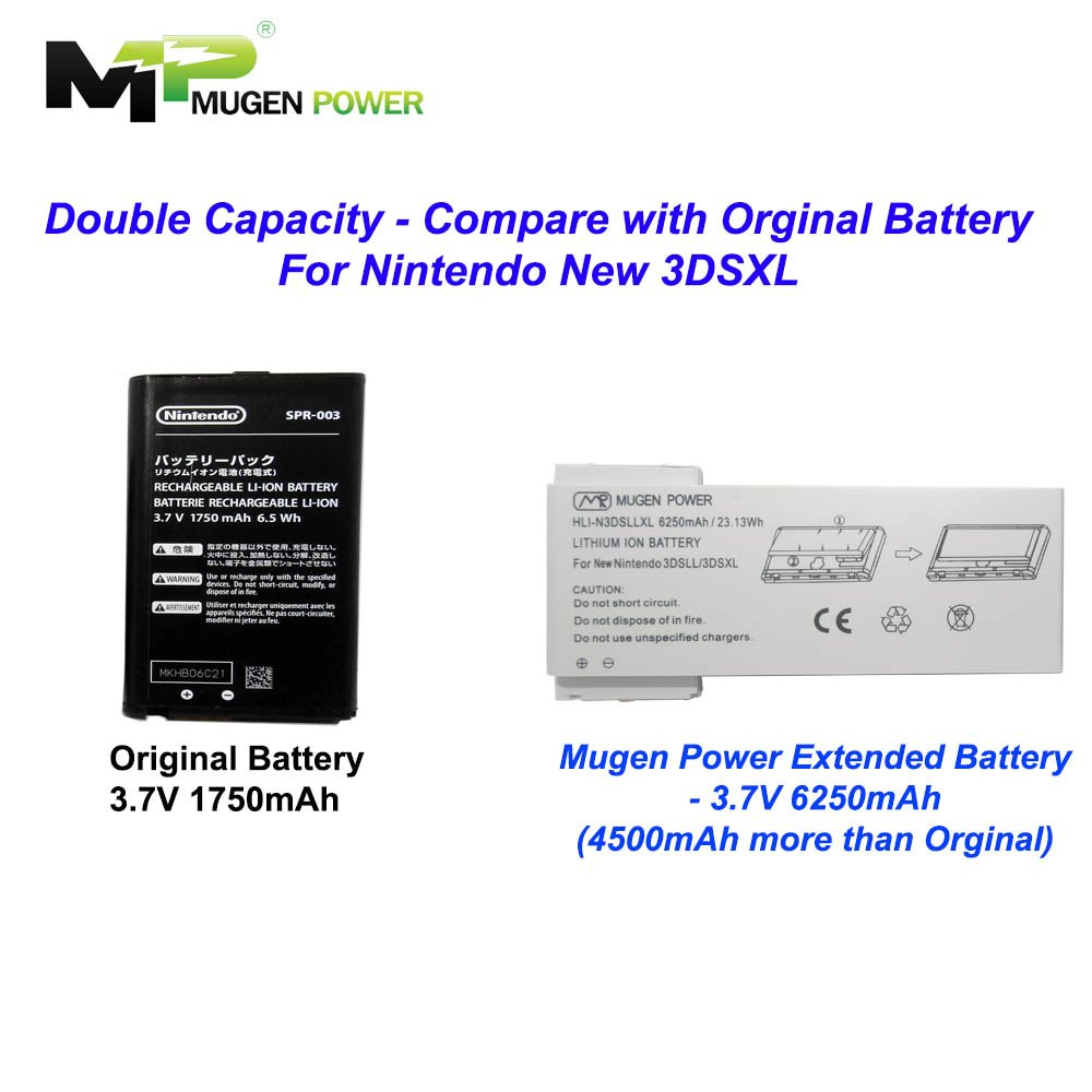 Mugen Power Hli N3ds Li Ion 5000 Mah 37 V Kamera Bigger Are Circuit For Series 220v Life 3ds To