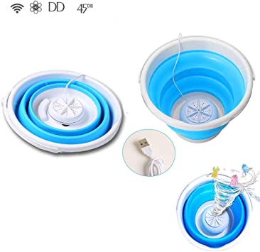 N//T Portable Mini Turbo Washing Machine with Foldable Tub Compact Ultrasonic Turbine Washer Lightweight Travel Laundry Washer USB Powered Camping Apartments Dorms Travel Washer