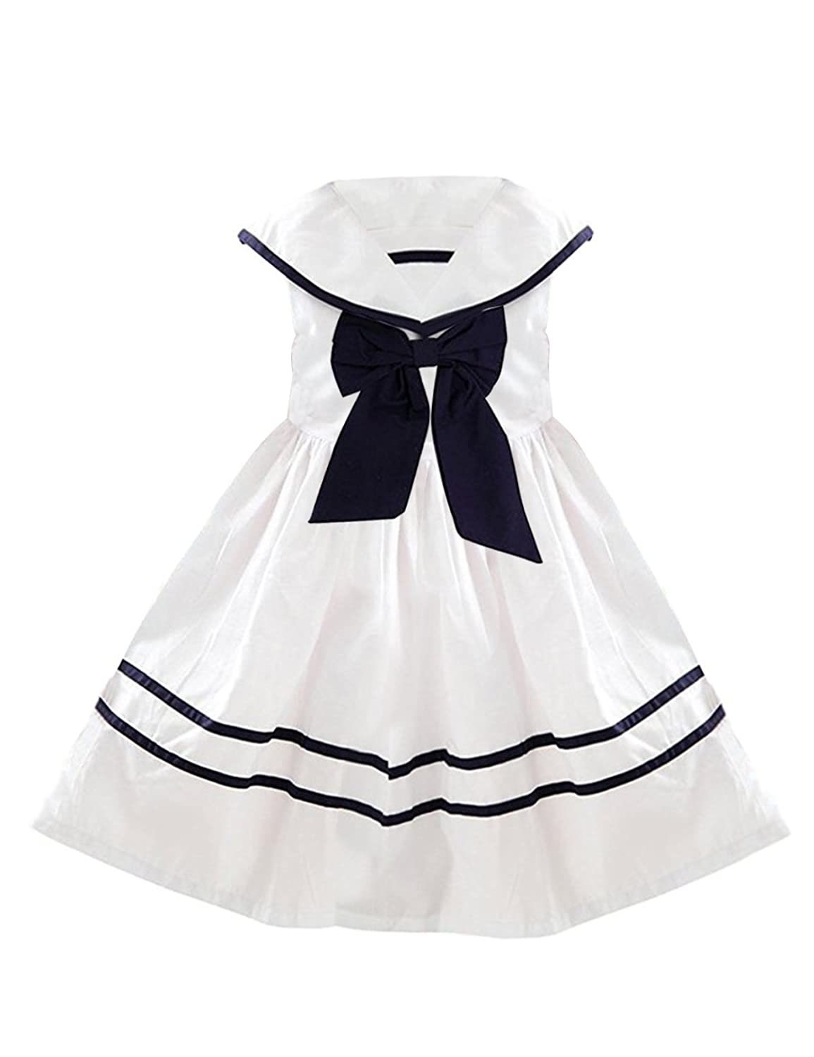 1930s Childrens Fashion: Girls, Boys, Toddler, Baby Costumes YJ.GWL Girl Nautical Dress Collar Sailor Dress with Bow-Tie $17.99 AT vintagedancer.com