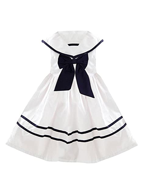 57bf292937d14 YJ.GWL Girls Nautical Sailor Dresses with Bow-Tie White Casual Sleeveless  Dress for 3-10 Years White