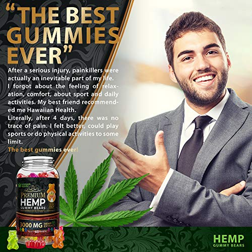 Natural Hemp Gummies 3000MG - 50MG Per Fruity Gummy Bear with Full Spectrum Hemp Extract   Natural Candy Supplements for Pain, Anxiety, Stress & Inflammation Relief   Promotes Sleep & Calm Mood by Hawaiian health (Image #2)