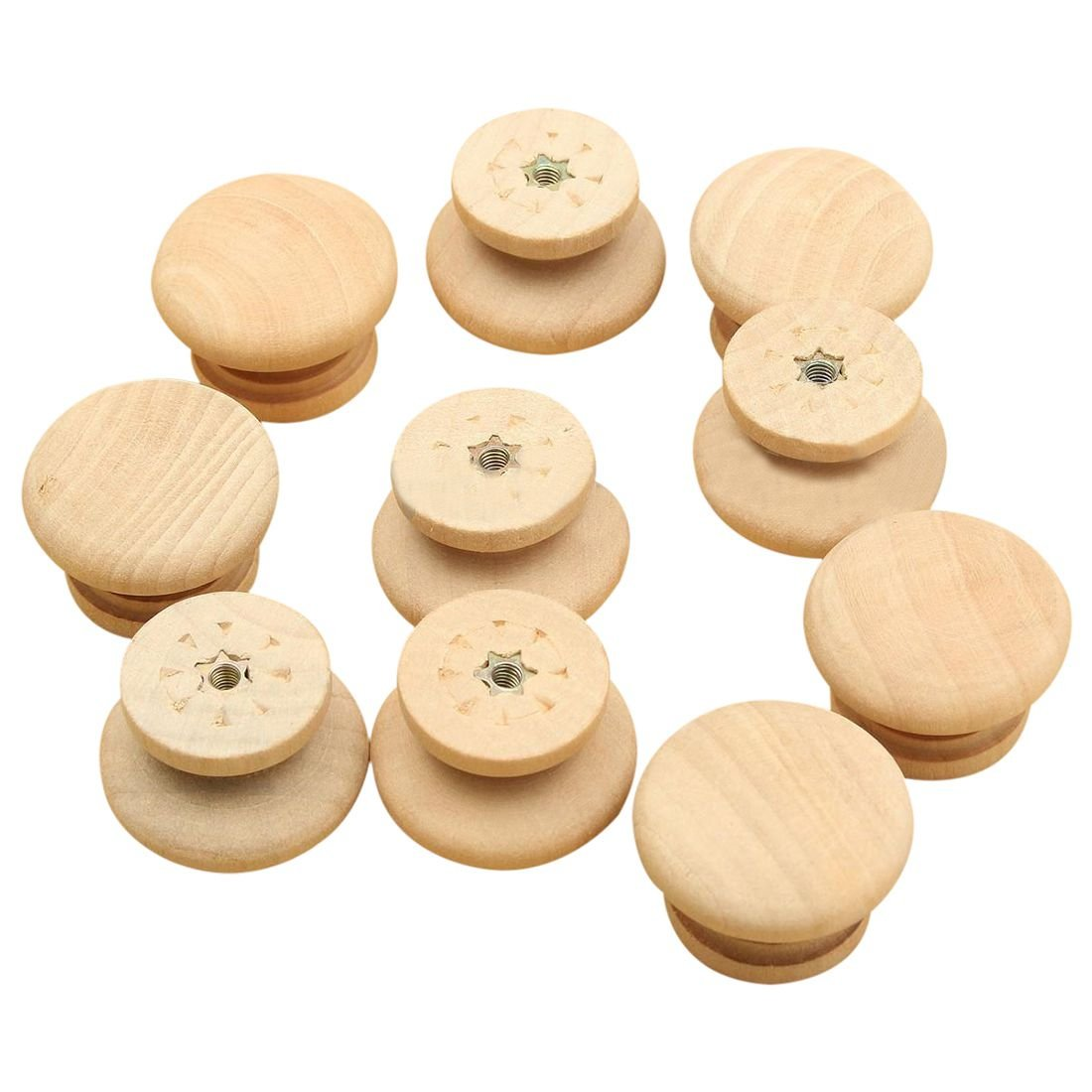 SODIAL 10pcs 35mm Natural Wood Wooden Drawer Wardrobe Door Cabinet Knob Pull With Screw