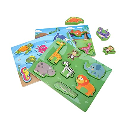 KIDS TOYLAND Wood Puzzles Sets Toddlers Sea World - Pre-Kindergarten Toys Suitable Age 3 Years up (3 Different Puzzles)