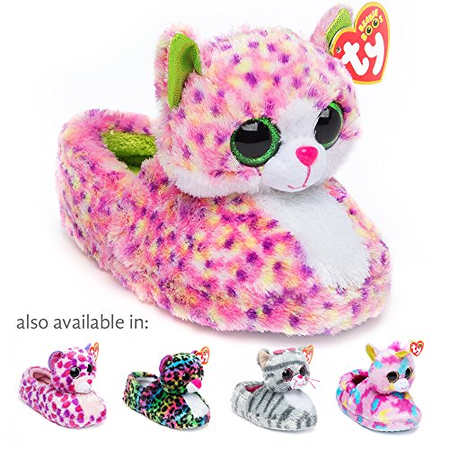TY Beanie Boos Kids Girls Big Head Sophie Cat Non Skid Plush Slippers, Pink/Green, Small (Cat House Head)