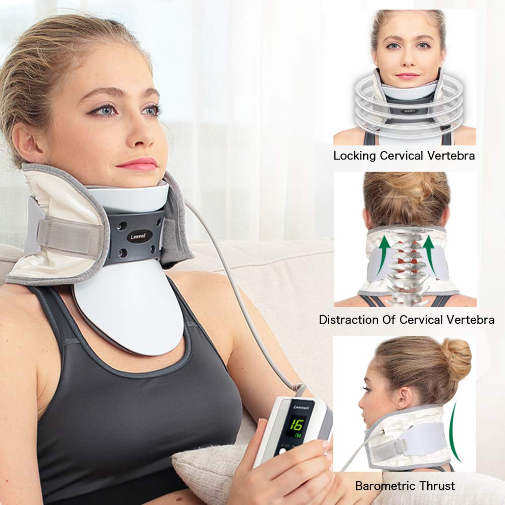 Cervical Neck Traction Device -Handpump Inflating Neck Stretcher Large for Weight ≥176lb- for Neck Pain, Neck Stiffness Decompression for Overdoor/Home Use-Well Support and Durable Neck Spine Collar