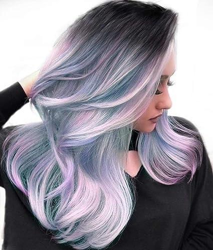 Peluca de pelo sintético de color rosa, lila, largo y rizado ...