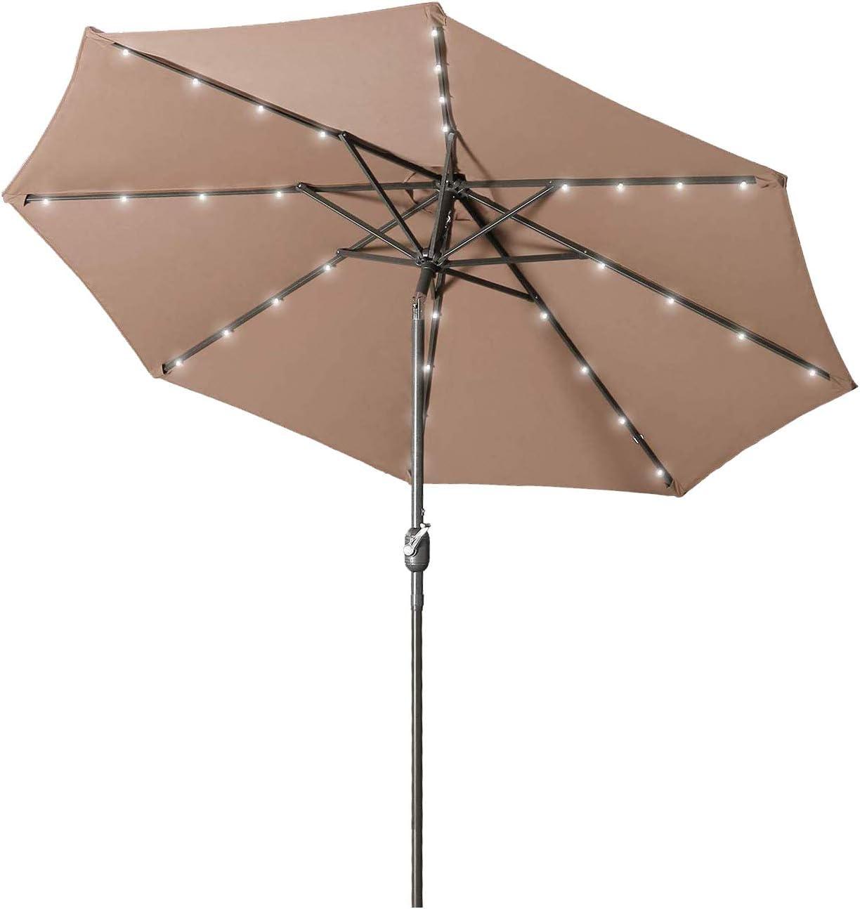 Aok Garden 9 ft Solar LED Lighted Patio Umbrella Outdoor Umbrella with Tilt and Crank 8 Ribs, Coffee
