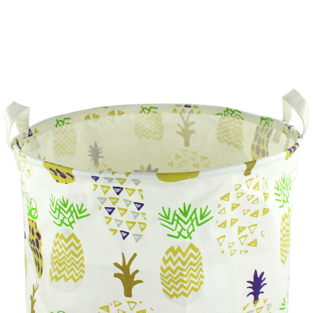 Yellow Orino 19 x 16.5 inches Extra Large Canvas Fabric Folding Storage bin with Handle Waterproof Home Decor Laundry Hamper Organize Pineapple Storage Baskets for Dirty Clothes Toy