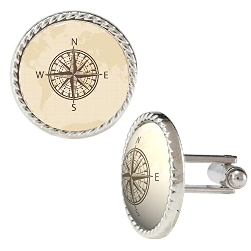 Sepia Toned World Map And Compass Cufflinks Amazonca Jewelry - World map sepia toned