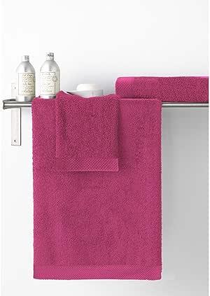 Stilia - Toalla de Lavabo 500 gr. 100% algodón peinado color fucsia 50x100 cm: Amazon.es: Hogar