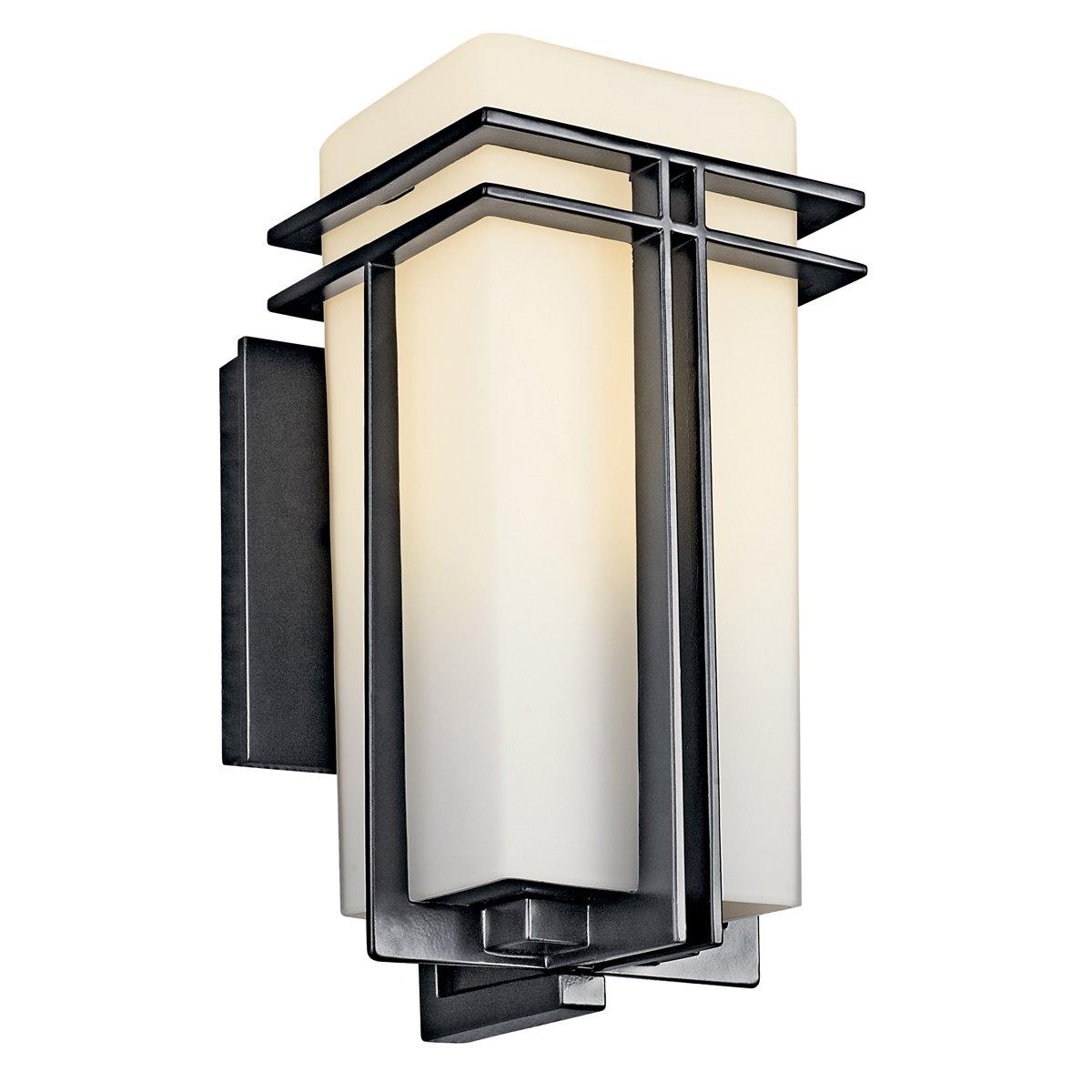 Kichler 49200BKFL, Tremillo Aluminum Outdoor Wall Sconce Light, 13 Watts Fluorescent, Black