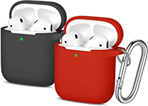 Easuny Silicone Case Compatible for Apple AirPods - 2 Pack Cover for Airpod 2 & 1 Protective Skin [Front LED Visible] Wireless Charging Case Women Men, Black/Red