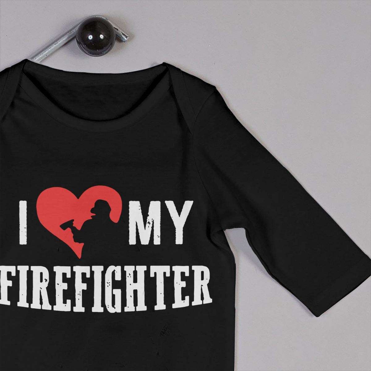 Infant Baby Boys Girls Cotton Long Sleeve I Love My Firefighter Climb Jumpsuit Funny Romper Clothes