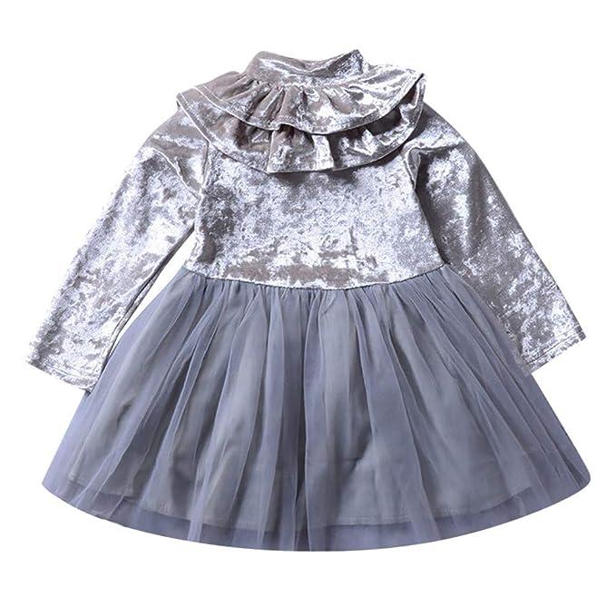 K-youth Vestidos Bebé Niñas Fiestas Boda Vestido a Volantes de Manga Larga para Niñas