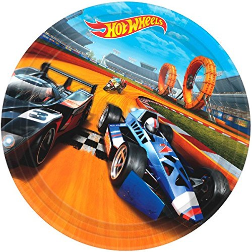 American Greetings Hot Wheels Round Plate (8 Count), Multicolor, 9