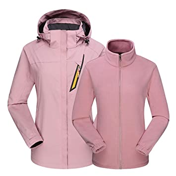 df63c9de1d certainPL Women s Ski Waterproof 3 in 1 Jacket with Fleece Inner Rain Winter  Coats Hooded Air