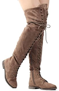 1ef8d604d81b Women s Over The Knee Low Heel Kate Lace Up Tall Boots