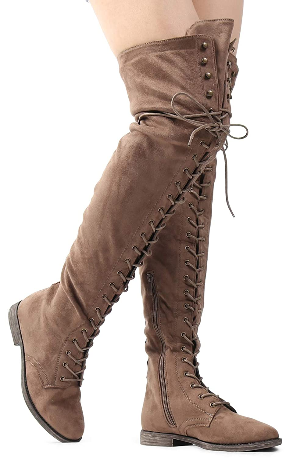 b189573043b Amazon.com  Women s Over The Knee Low Heel Kate Lace Up Tall Boots  Shoes